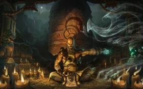 Картинка дым, свечи, воин, медитация, арт, монах, храм