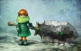 Картинка зима, снег, оружие, девочка