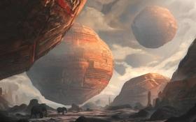 Обои скалы, арт, слоны, сферы, гигантские