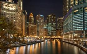 Картинка ночь, город, огни, отражение, река, небоскребы, Чикаго