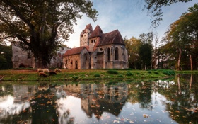 Обои Pottendorf, пруд, поместье, лужайка, вода, осень, замок