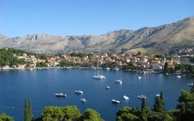 Картинка море, горы, город, Хорватия, Ядран, Цавтат