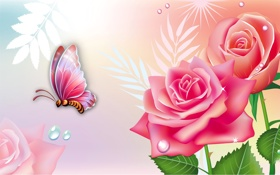 Обои цветы, коллаж, бабочка, розы