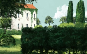 Обои заросли, деревья, природа, арт, здание, дом