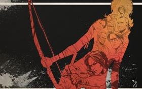 Картинка лук, lara croft, лица, персонажи, Tomb Raider, игра, оружие