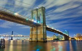 Картинка вода, огни, Нью-Йорк, Бруклинский мост, мосты