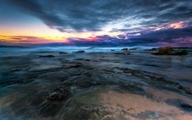Картинка пляж, небо, тучи, камни, океан, рассвет, утро