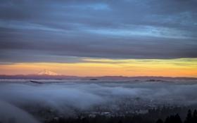 Картинка город, туман, утро, Portland