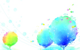 Обои рыбки, деревья, пузыри, синева
