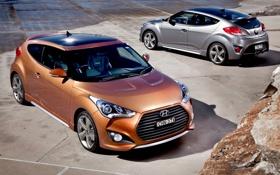 Обои фон, купе, Hyundai, вид сзади, передок, Turbo, Турбо