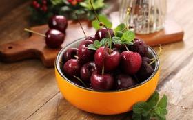 Обои миска, вишня, ягоды