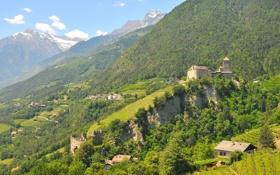 Картинка лес, горы, поля, Италия, Italy, замки, дома.