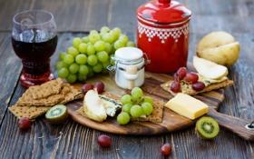 Обои вино, красное, сыр, киви, печенье, виноград, груша