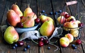Обои вишня, черника, груши, абрикосы