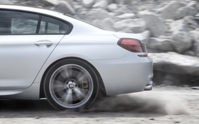 Обои BMW, silver, dust, speed, back, gran coupe