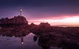 Обои океан, скалы, рассвет, маяк, Lighthouse, Jersey, Corbiere