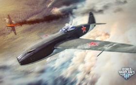 Картинка самолет, огонь, дым, aviation, авиа, MMO, Wargaming.net