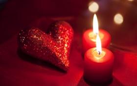 Картинка красный, сердце, свечи