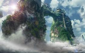Обои небо, острова, облака, скалы, азия, здания, высота
