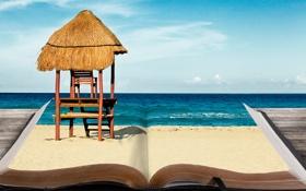 Обои песок, море, креатив, книга, закладка