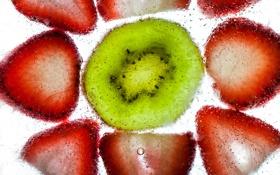 Обои пузырьки, жидкость, киви, клубника, ягода