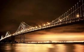 Картинка ночь, мост, город, огни, освещение, Калифорния, залив