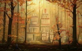 Картинка осень, лес, деревья, человек, меч, воин, арт