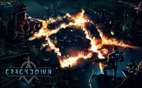 Обои logo, бойцы, лого, Microsoft Game Studios, город, дома, огонь