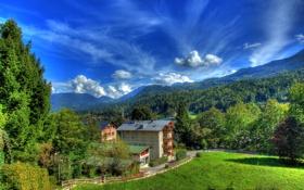 Картинка зелень, лес, небо, облака, деревья, пейзаж, горы