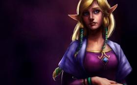 Обои девушка, фон, арт, эльфийка, The Legend of Zelda, Skyward Sword