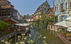 Картинка Alsace, навес, Кольмар, канал, Colmar, маленькая Венеция, кафе