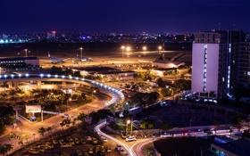 Обои город, ночь, Tan Son Nhat Air Port