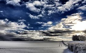 Картинка зима, поле, небо