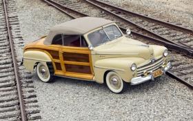 Обои ретро, рельсы, Ford, Форд, шпалы, передок, 1947