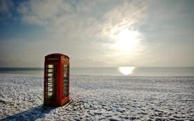 Обои море, пляж, пейзаж, телефонная будка