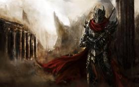 Картинка пыль, Воин, меч, колонны, доспехи, плащ, свет