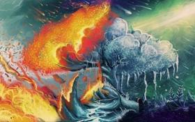 Обои огонь, арт, контраст, дерево, лёд