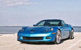 Картинка море, небо, голубой, Z06, Corvette, Chevrolet, шевроле