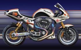 Обои арт, Harley-Davidson, харлей, спортивный мотоцикл