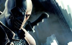 Обои наемник, антигерой, Batman: Arkham Origins, Дезстроук, Deathstroke, маска. взгляд