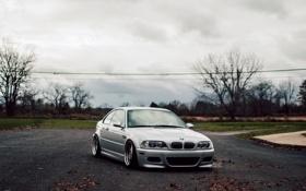 Картинка бмв, BMW, серая, E46, stance
