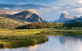 Картинка деревья, горы, озеро, луг