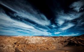 Обои небо, облака, камни