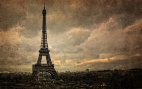 Обои город, стиль, фон, Париж, башня
