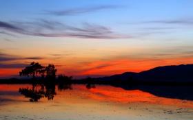 Картинка небо, облака, деревья, закат, горы, огни, озеро