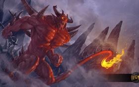 Обои огонь, хвост, рога, монстер, heroes of newerth, moba, scarlord