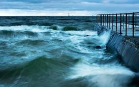 Картинка море, волны, пейзаж, пирс
