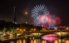 Картинка ночь, мост, город, огни, блики, река, люди