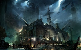 Обои здание, флаг, вертолет, солдаты, Crysis 2