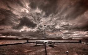 Картинка Landscape, sky, bench, rona bay